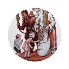 St. Nick & The Krampus Ornament (Round)