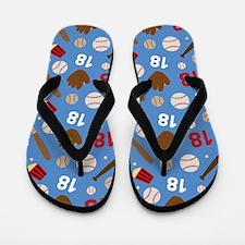 Baseball Number 18 Flip Flops