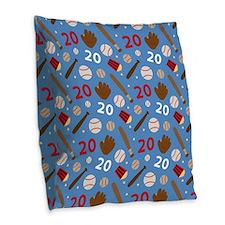 Baseball Number 20 Burlap Throw Pillow
