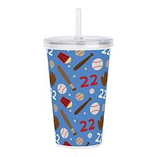 Baseball Number 22 Acrylic Double-wall Tumbler