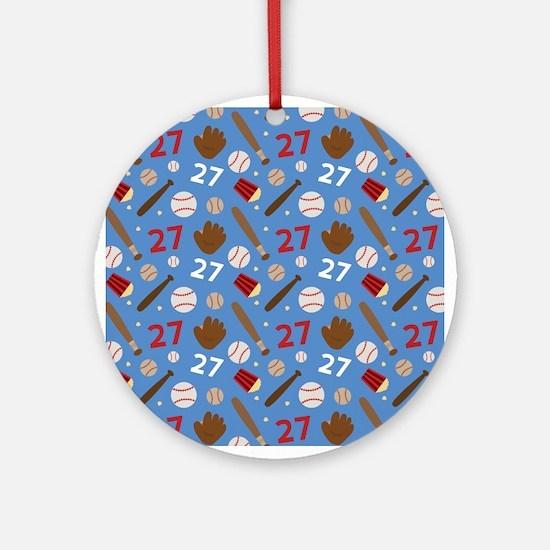 Baseball Number 27 Ornament (Round)