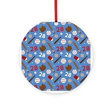 Baseball Number 28 Ornament (Round)