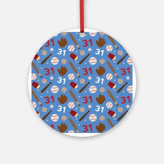 Baseball Number 31 Ornament (Round)