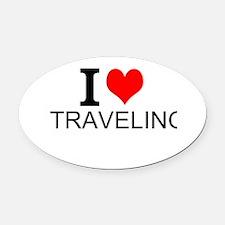 I Love Traveling Oval Car Magnet