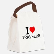 I Love Traveling Canvas Lunch Bag