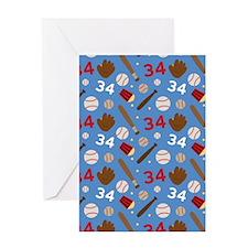 Baseball Number 34 Greeting Card