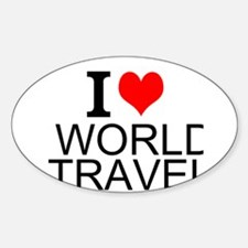 I Love World Travel Decal