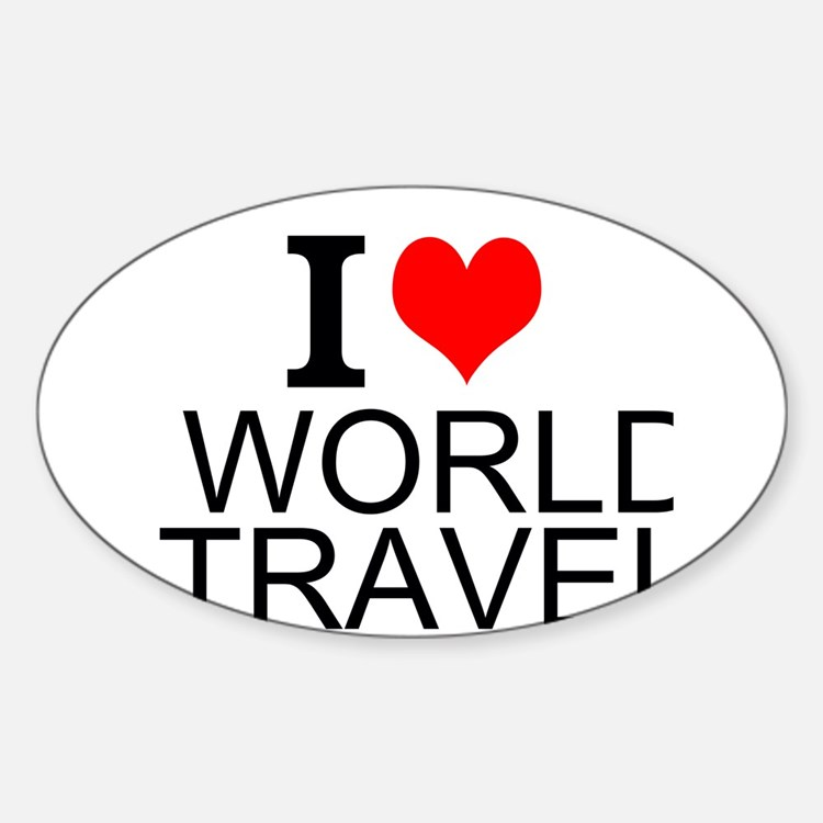 I Love World Travel Decal