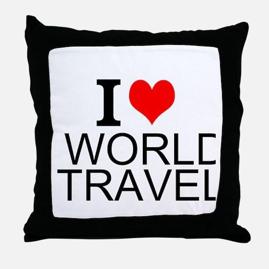 I Love World Travel Throw Pillow