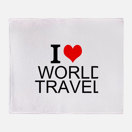 I Love World Travel Throw Blanket