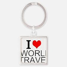 I Love World Travel Keychains