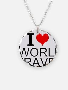 I Love World Travel Necklace