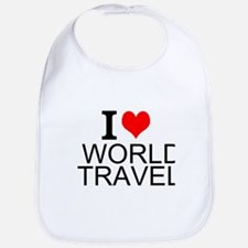 I Love World Travel Bib