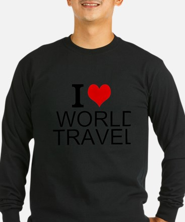 I Love World Travel Long Sleeve T-Shirt
