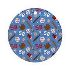 Baseball Number 58 Ornament (Round)