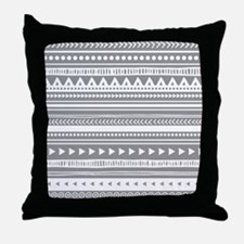 Grey White Tribal Vintage Stripes Throw Pillow
