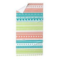 Lime Teal Coral Tribal Vintage Stripes Beach Towel