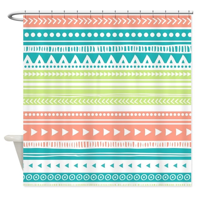 lime teal coral tribal vintage stri shower curtain by