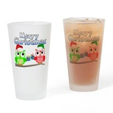 Merry Christmas Owls Drinking Glass