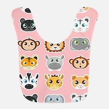 Cute Jungle Animals Pattern Pink Bib