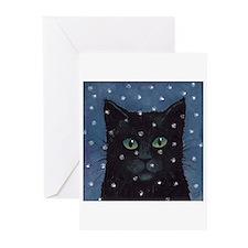 Black Cat Snow Falling Cards (Pk of 10)