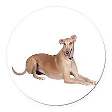 Greyhound (liedown) Round Car Magnet