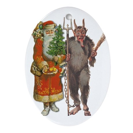 Krampus And Santa Claus Are Here Ornament (Oval)