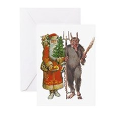 Krampus And Santa Claus Are Here Greeting Cards