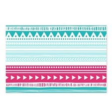 Pink Blue Geometric Triba Postcards (Package of 8)