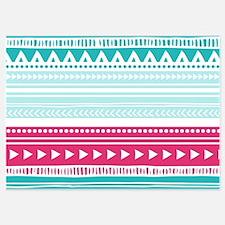 Pink Blue Geometric Tribal Stripes Invitations