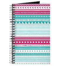 Pink Blue Geometric Tribal Stripes Journal