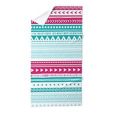 Pink Blue Geometric Tribal Stripes Beach Towel