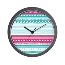 Pink Blue Geometric Tribal Stripes Wall Clock
