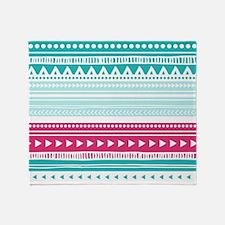 Pink Blue Geometric Tribal Stripes Throw Blanket