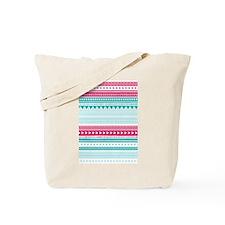 Pink Blue Geometric Tribal Stripes Tote Bag