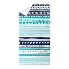 Teal Blue Tribal Geometric Vintage Str Beach Towel