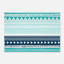 Teal Blue Tribal Geometric Vintage 5'x7'Area Rug