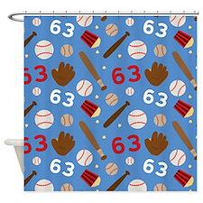 Baseball Number 63 Shower Curtain