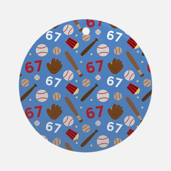 Baseball Number 67 Ornament (Round)