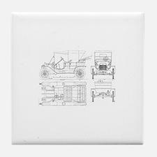 Model T Blueprints Tile Coaster