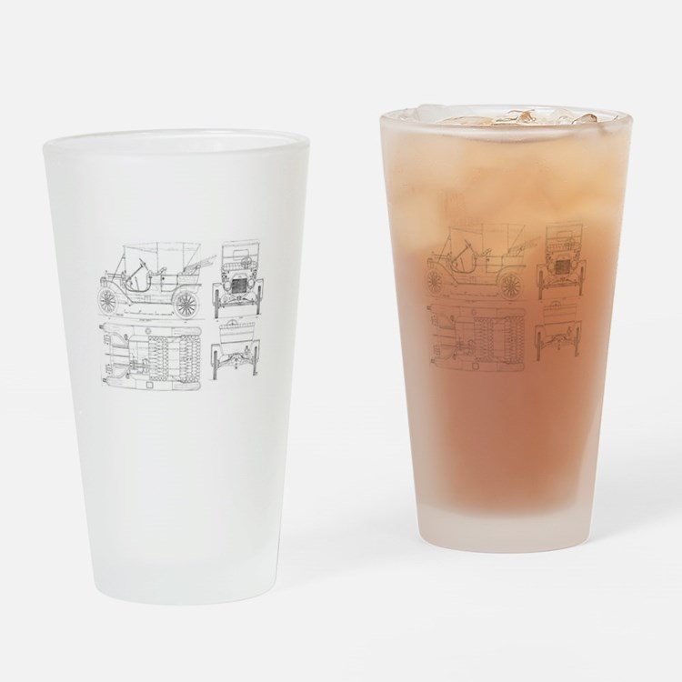 Model T Blueprints Drinking Glass
