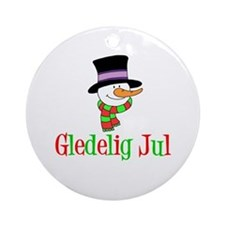 Gledelig Jul Norwegian Snowman Ornament (round)
