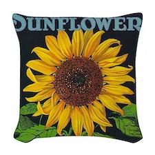 Sunflower Vintage Art Poster Woven Throw Pillow