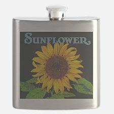 Sunflower Vintage Art Poster Flask