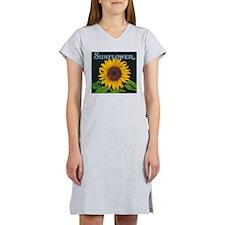 Sunflower Vintage Art Poster Women's Nightshirt