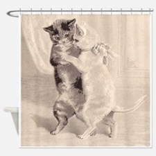 Cats Dancing; Vintage Cat Art Shower Curtain