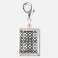 Abstract Graphic Tile Patter Silver Portrait Charm