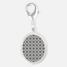 Abstract Graphic Tile Pattern Silver Oval Charm