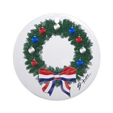 Freedom Wreath Christmas Round Ornament