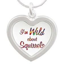 Wild About Squirrels Silver Heart Necklace